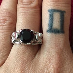 Stainless steel Skelton ring with black stone
